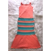 Vestido nervura candy color - Salmon/verdeagua/off